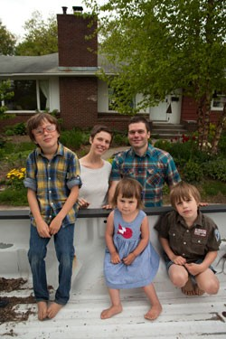 The Laing family in front of their Gosse Court home - MATTHEW THORSEN