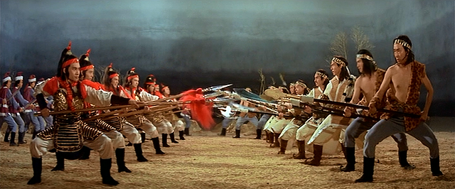 The opening battle in Eight Diagram Pole Fighter - SHAW BROTHERS
