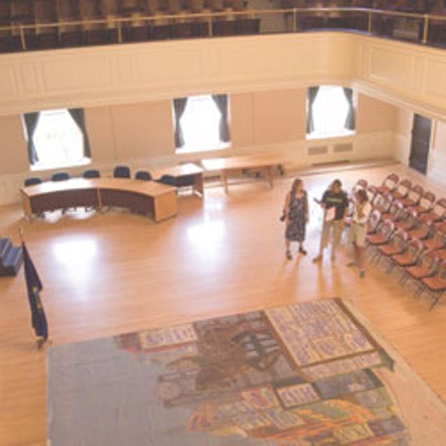 The painted curtain revealed in Contois Auditorium - MATTHEW THORSEN