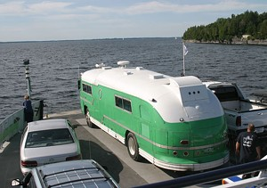 """The Pickle"" riding the ferry across Lake Champlain"