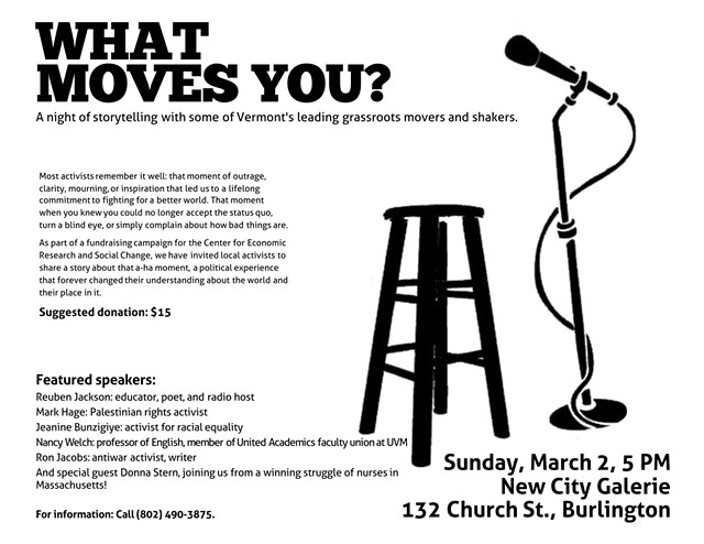 The poster for Sunday night's 'What Moves You?' event. - STEVE RAMEY