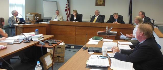 The Public Service Board listens to testimony on Burlington Telecom last summer. - KEVIN KELLEY