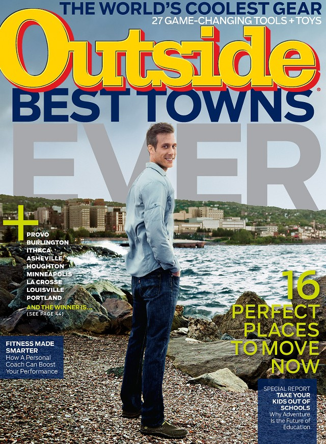 "The September 2014 cover of 'Outside' Magazine teases its ""Best Towns Ever"" contest. Burlington and Montpelier both made the list. - COURTESY OF OUTSIDE MAGAZINE"