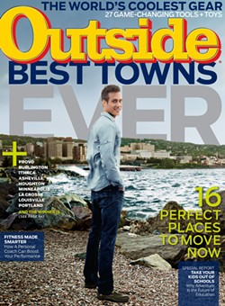 """The September 2014 cover of 'Outside' Magazine teases its """"Best Towns Ever"""" contest. Burlington and Montpelier both made the list. - COURTESY OF OUTSIDE MAGAZINE"""