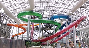 The water slide complex at the Pump House