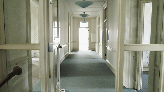 The yet-unadorned hallway at Local 64's future location at 43-45 State Street - COURTESY OF LOCAL 64