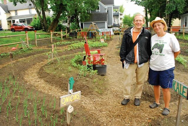 Paul Dreher and Jennifer Bernier at the Summer Street Community Garden. - CORIN HIRSCH