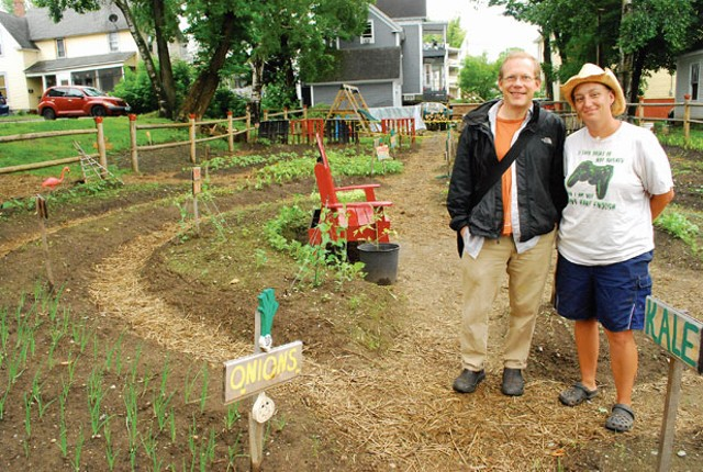Paul Dreher and Jennifer Bernier at the Summer Street Community Garden. - CORIN HIRSCH