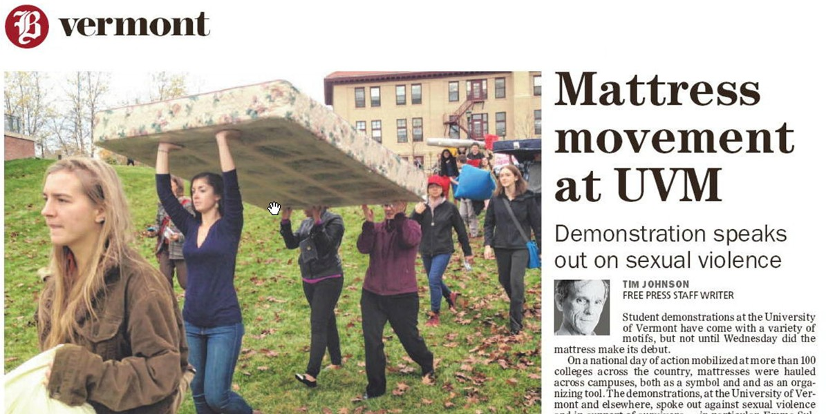 Tim Johnson covered a protest against sexual assault held at the University of Vermont in Thursday's Free Press. - SCREENSHOT OF BURLINGTON FREE PRESS