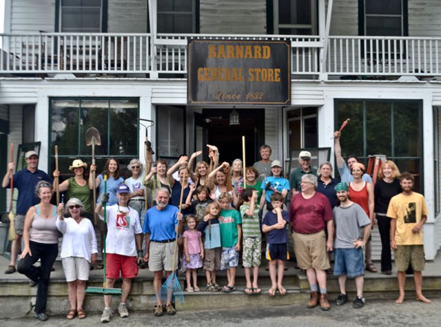 Townspeople turn out to clean up the store in June.