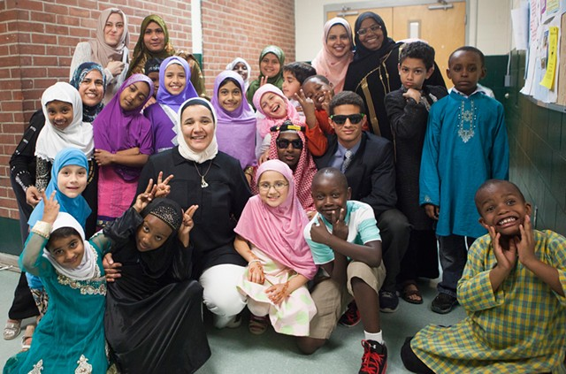 Students and teachers backstage at the Weekend Islamic School's annual show - JAMES BUCK