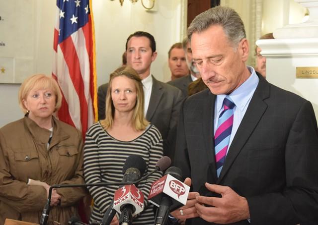 Gov. Peter Shumlin announces he won't seek reelection. - TERRI HALLENBECK