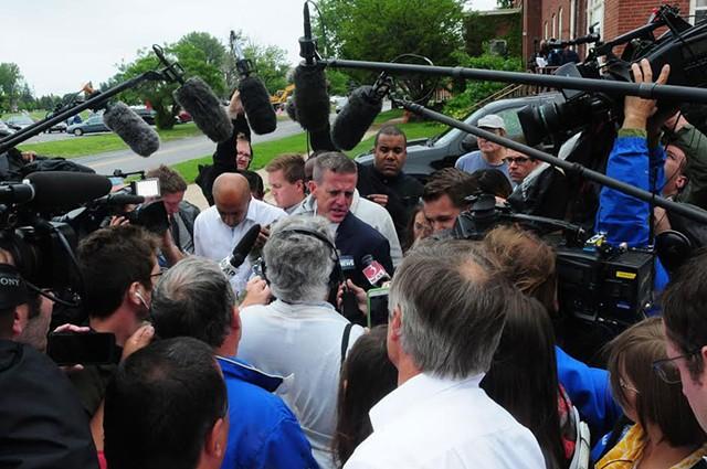 Media mob Clinton County, N.Y., District - Attorney Andrew Wylie in Plattsburgh. - COURTESY OF PRESS-REPUBLICAN