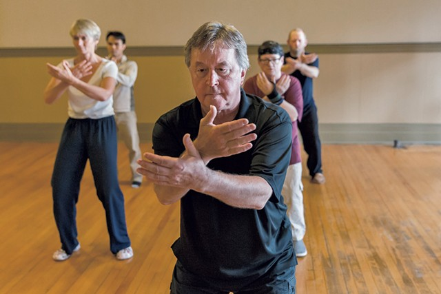 Bob Boyd leads a tai chi class at his Church Street studio - OLIVER PARINI