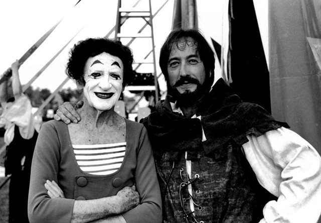 Marcel Marceau (left) and Rob Mermin in 1999 - COURTESY OF ROB MERMIN