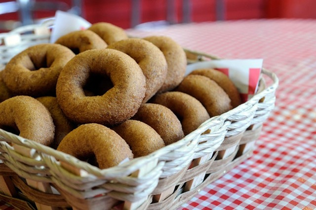 A basket of fresh cider doughnuts at the Cold Hollow Cider Mill in Waterbury Center. - JEB WALLACE-BRODEUR