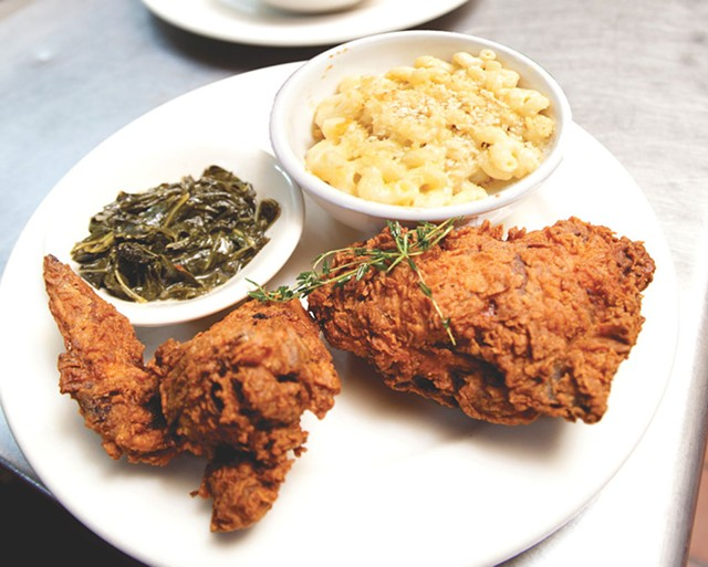 Fried chicken, collards, and mac and cheese at Nectar's - MATTHEW THORSEN