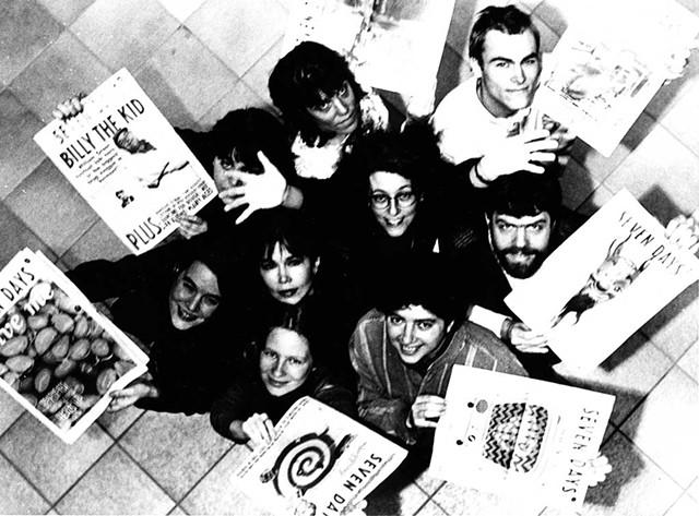 FIRST ANNIVERSARY STAFF PHOTO, 1996: Top from left: Barbara Peabody, Kathy Erickson, Lars-Erik Fisk. Second row: Maggie Starvish, Pamela Polston, Paula Routly, Rick Woods. Bottom row: Samantha Hunt, Clove Tsindle. (Photo: Matthew Thorsen)
