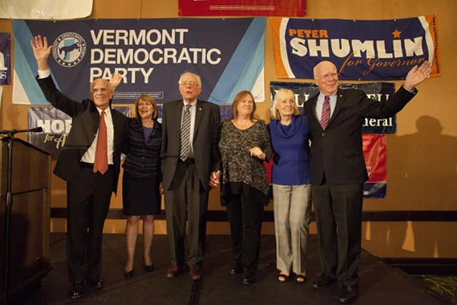 Vermont's congressional delegation — Rep. Peter Welch, Sen. Bernie Sanders and Sen. Patrick Leahy — and their spouses on Election Day 2014. - MATTHEW THORSEN