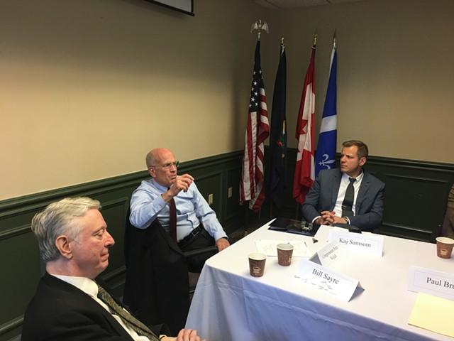 Left to right: Bill Sayre, Congressman Peter Welch and tax commissioner Kaj Samsom - JOHN WALTERS