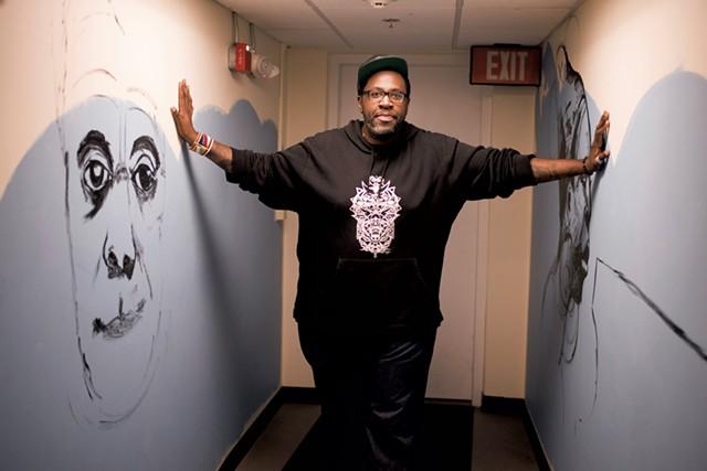In-progress murals of James Baldwin and Nina Simone - CALEB KENNA