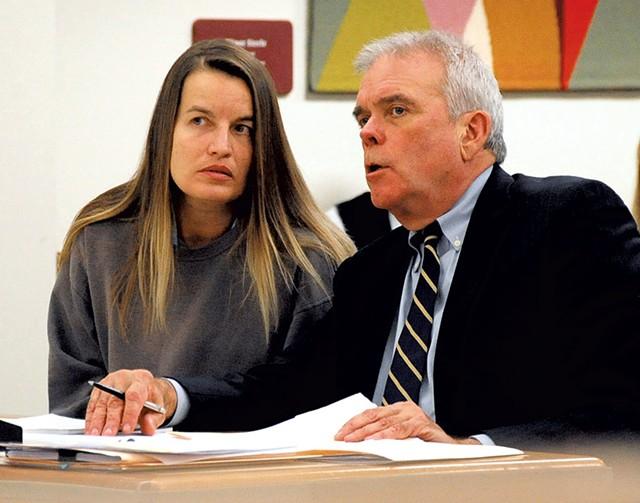 Jody Herring conferring with her defense attorney, David Sleigh - STEFAN HARD/TIMES ARGUS
