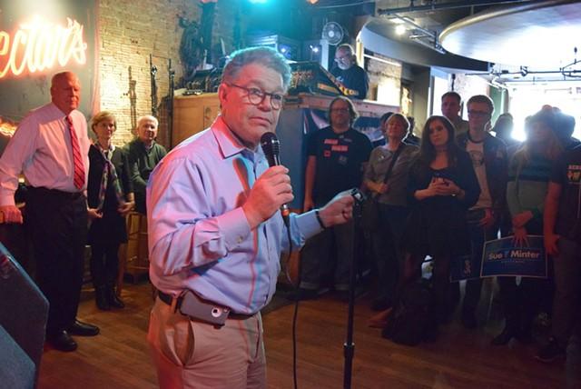 Sen. Al Franken addresses Vermont Democrats at Nectar's in November 2016. - FILE: TERRI HALLENBECK