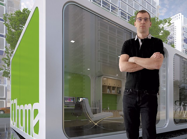 Lincoln Brown pictured with a rendering of GOhome, his semi-futuristic envisioning of a mobile home - IMAGES COURTESY OF LINCOLN BROWN