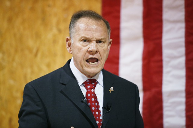 U.S. Senate candidate Roy Moore speaking at a campaign rally in Alabama - ASSOCIATED PRESS PHOTO