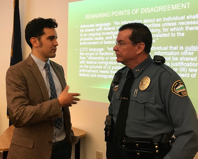Jay Diaz, a staff attorney for the Vermont chapter of the American Civil Liberties Union, speaks with Brandon Police Chief Christopher Brickell. - TAYLOR DOBBS