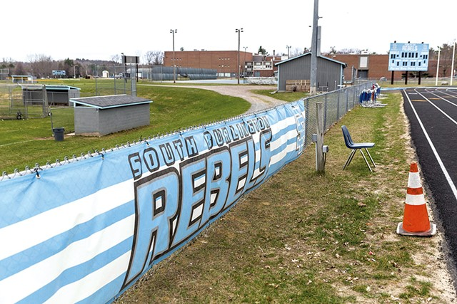 Rebel banners at South Burlington High School during the 2016-2017 school year. - OLIVER PARINI