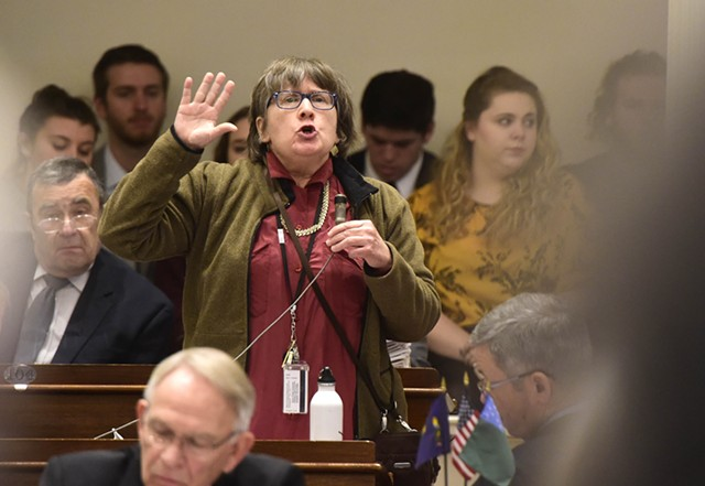 Rep. Cynthia Browning (D-Arlington) advocates Thursday on the House floor for limits on the cultivation of marijuana. - JEB WALLACE-BRODEUR