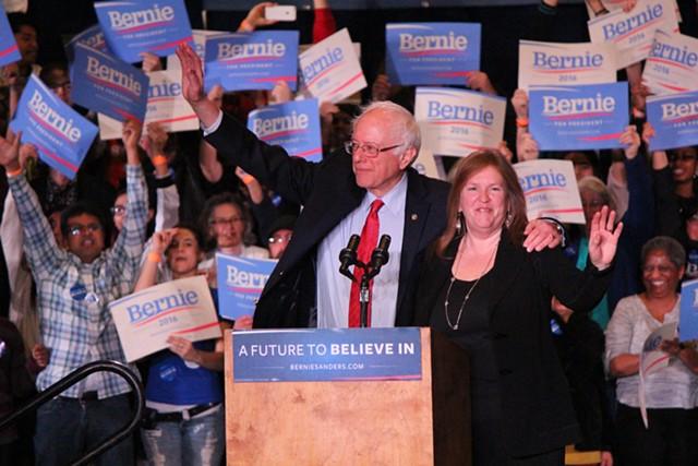 Sen. Bernie Sanders and Jane O'Meara Sanders campaign in Reno, Nev., in February 2016. - FILE: PAUL HEINTZ