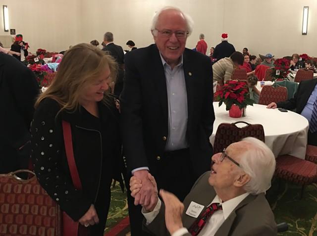 Jane O'Meara Sanders, Sen. Bernie Sanders and Tony Pomerleau in December 2017 at the Pomerleau Holiday Party in Burlington - FILE: JOHN WALTERS