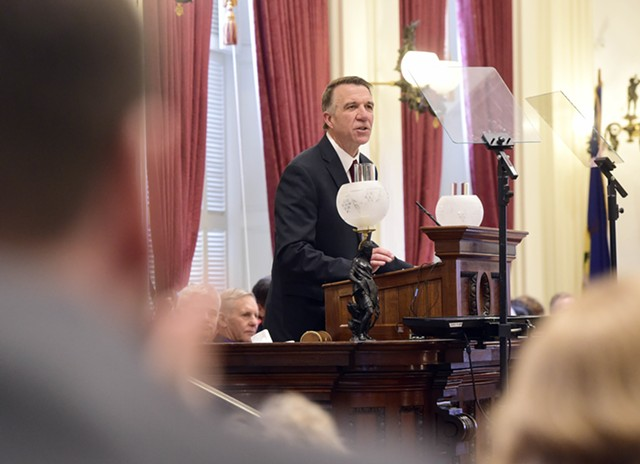 Gov. Phil Scott delivers his budget address in the Vermont Statehouse Tuesday. - JEB WALLACE-BRODEUR