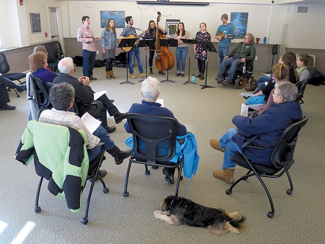 The University of Vermont Folk Music Club performing at Queen City Memory Café - MATTHEW THORSEN