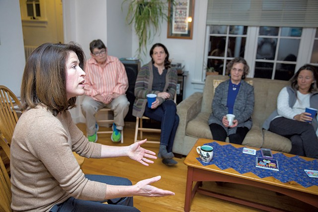 Carina Driscoll meeting community members at a house party - JAMES BUCK