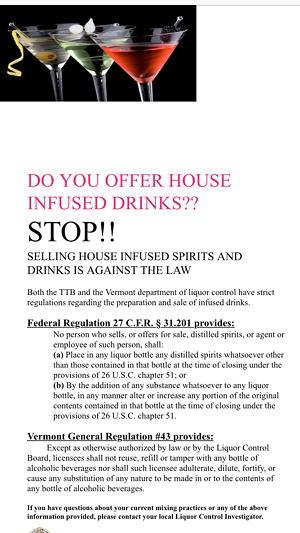 DLC flier distributed in local bars and restaurants - COURTESY OF THE VERMONT DEPARTMENT OF LIQUOR CONTROL