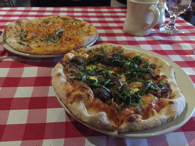 Lunch pizzas at American Flatbread in Burlington - SALLY POLLAK