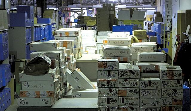 Rape kits in a warehouse