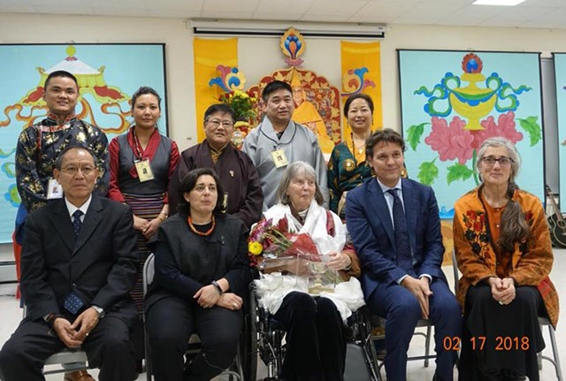 Grace Spring (center, first row) with representatives from International Campaign for Tibet and Tibetan Association of Vermont, and her daughter, Cassandra Corcoran (far right) - TSETEN ANAK