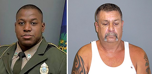 Trooper Christopher Brown (left) and Robert Smallidge - COURTESY OF VERMONT STATE POLICE
