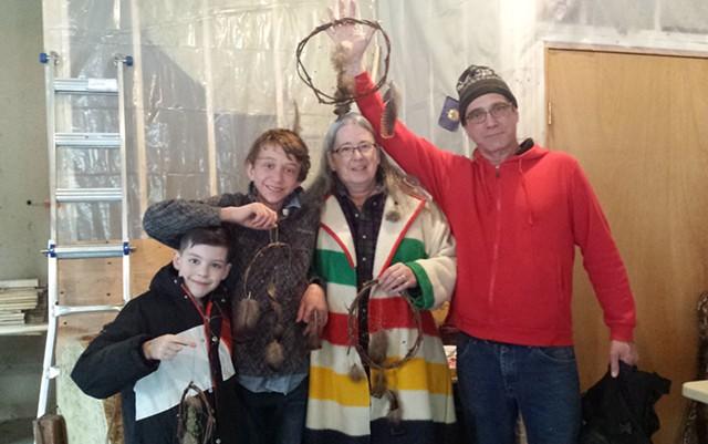 Winners of 2018 Snow Snake Games, left to right: Nate Chenevert, Gavin MacNeille, Rhonda Besaw and Bryan Blanchett - KYMELYA SARI