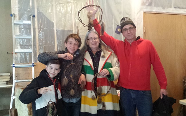 Winners of 2018 Snow Snake Games, left to right: Nate Chenevert, Gavin MacNeille, Rhonda Besaw and Bryan Blanchett - KYMELYA SARI