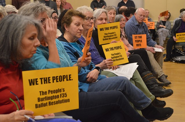 Opponents of the F-35s at a City Council meeting - FILE: KATIE JICKLING