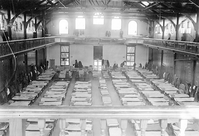 The University of Vermont gymnasium as a temporary infirmary during the 1918 Spanish influenza pandemic - COURTESY OF UNIVERSITY OF VERMONT SPECIAL COLLECTIONS, BAILEY/HOWE LIBRARY