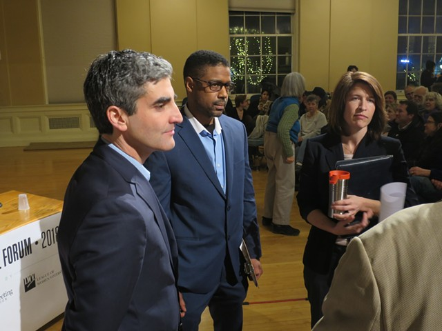 Mayor Miro Weinberger, Infinite Culcleasure and Carina Driscoll at the Seven Days mayoral forum in February - FILE: MATTHEW THORSEN