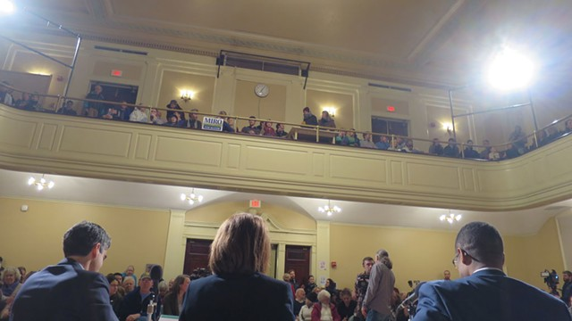 Miro Weinberger, Carina Driscoll and Infinite Culcleasure at the Seven Days mayoral forum in Burlington City Hall in February - FILE: MATTHEW THORSEN