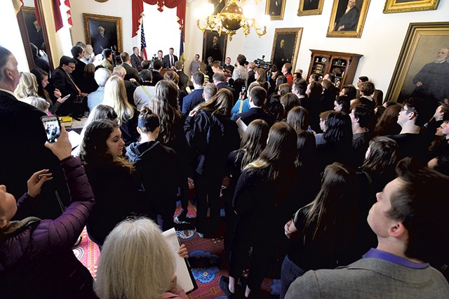Students watching Gov. Phil Scott outline his gun proposals - JEB WALLACE-BRODEUR
