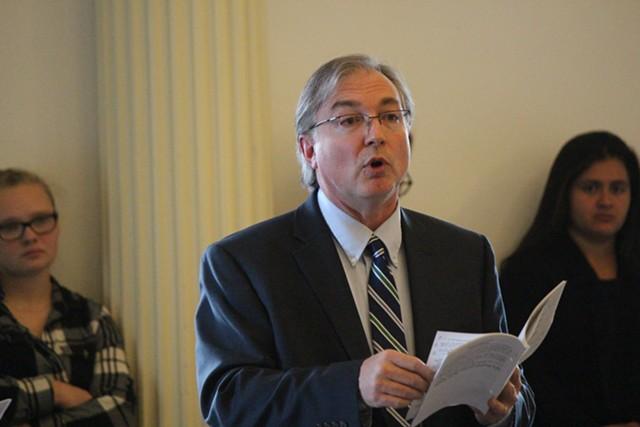 Sen. Phil Baruth introduces his universal background checks amendment Thursday. - PAUL HEINTZ